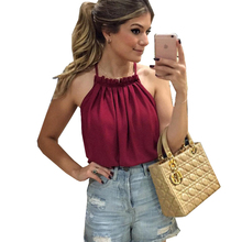 2016Hot Sale New Spring Summer Woman Blouses Shirts White Collar Double Chiffon Strapless Wild Leisure Bottoming Fashion Red A50