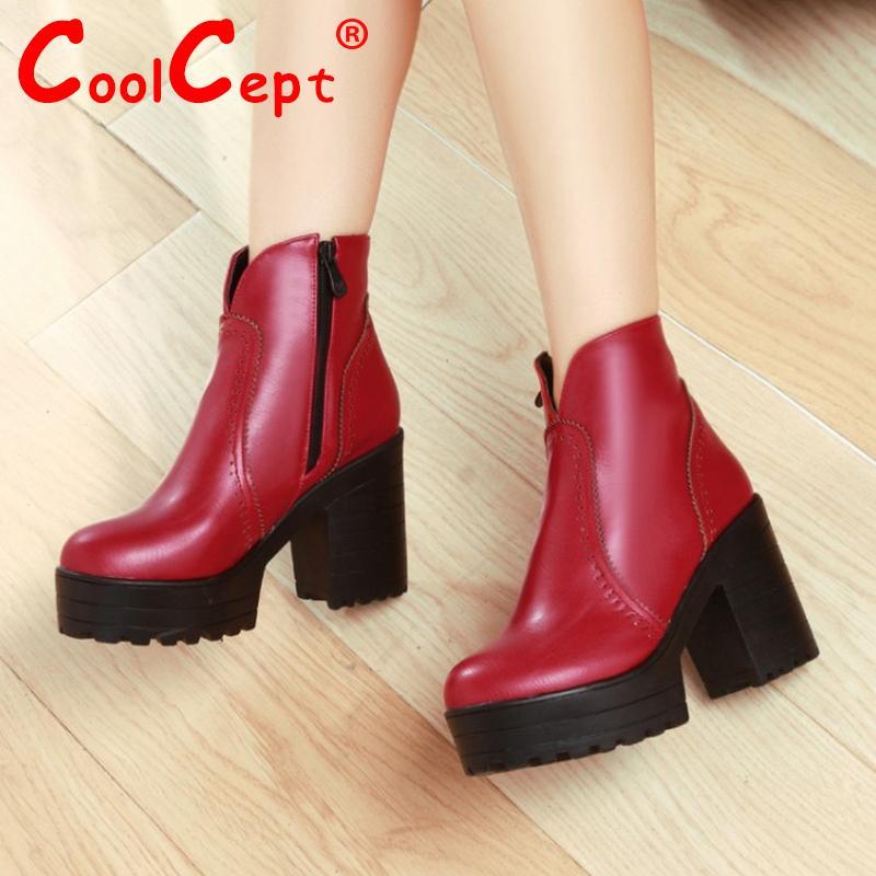 women platform half short ankle boots autumn winter botas quality martin zipper footwear warm heels boot shoes P19554 size 33-43<br><br>Aliexpress