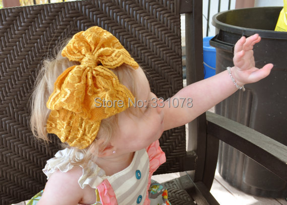 2015 new lace high bow Gold Bow Lace Bow Headband Vintage Head Wrap Photo Prop Hair Accessories(China (Mainland))