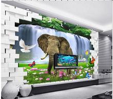 Buy custom photo 3d wallpaper mural non-woven picture Elephant 3d sitting room decoration painting 3d wall mural wallpaper fo for $14.99 in AliExpress store