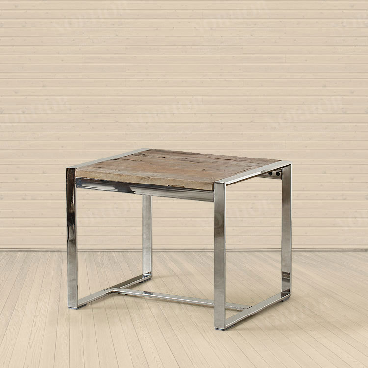 American country classic retro mining Pa Guda coffee wood furniture / stainless steel square a few old pine few side(China (Mainland))
