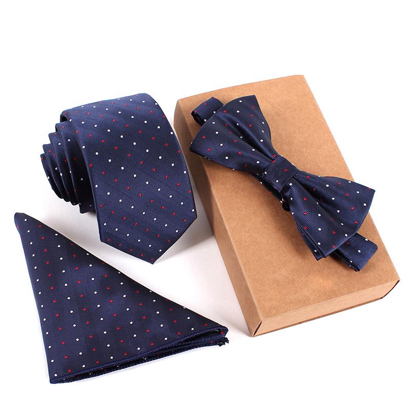 Business Wedding Dot Polyester Silk 6cm Skinny Ties for Men Neckties & Handkerchief & Bow Tie Set Pocket Square Towel Bowtie(China (Mainland))