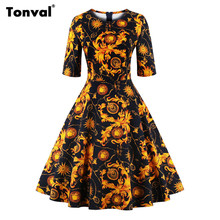 Buy Tonval Half Sleeve Vintage Summer Tunic Dress Women Gorgeous Floral Retro Audrey Hepburn Style 2017 Plus Size Swing Dresses for $17.36 in AliExpress store