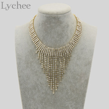 Buy Lychee Luxury Gold Color Crystal Choker Necklace Bling Bling Tassel Pendant Rhinestone Choker Collar Bride Wedding Party Jewelry for $3.49 in AliExpress store