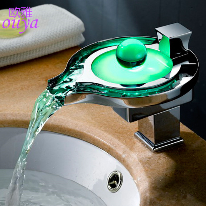 Bathroom basin Led Faucet. Chrome plated Brass glass led Waterfall Faucet Water Power Basin led Mixer. 3 Colors Change Led Tap(China (Mainland))