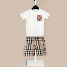 High quality 2pcs boys clothing set summer style 2015 new brand short sleeve t shirt plaid