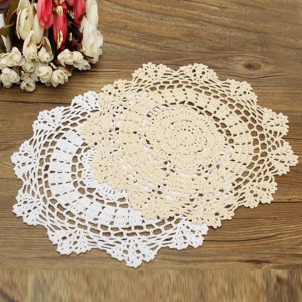 2 Colors 30cm Pastoral Round Hand Crocheted Cotton Doilies Flower Shape Placemat Coasters Table Decorative Gadgets Houseware(China (Mainland))