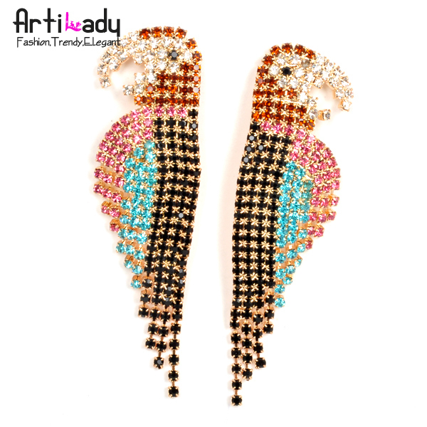 Artilady new parrot stud earring crystal earring jewelry 2013