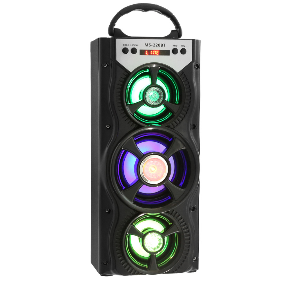 Portable MS - 220BT Bluetooth Speaker FM Radio AUX Huge Stereo Sound With 4-inch Hi-Fi Speaker Colorful LED Light(China (Mainland))