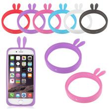 Универсальный мягкий бампер чехол для мобильного телефона 4.0 ~ 5.0 дюймов конфеты цвет ночник кролика медведь ушами нескольких браслет телефон чехол