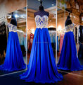 Cheap Long Prom Dresses 2016 Vestidos Longos Gold Lace Sweetheart Formal Evening Gowns Royal Blue Dress