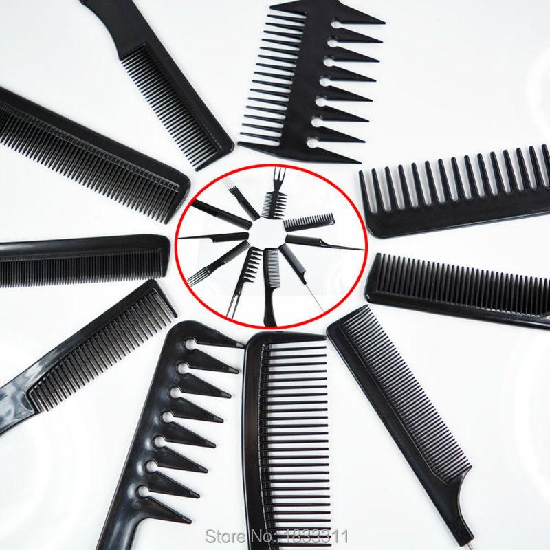 Hair Brush Set Comb Barbers Black Pro Salon Styling tools Hairdressing Plastic ( 10 Pcs )(China (Mainland))