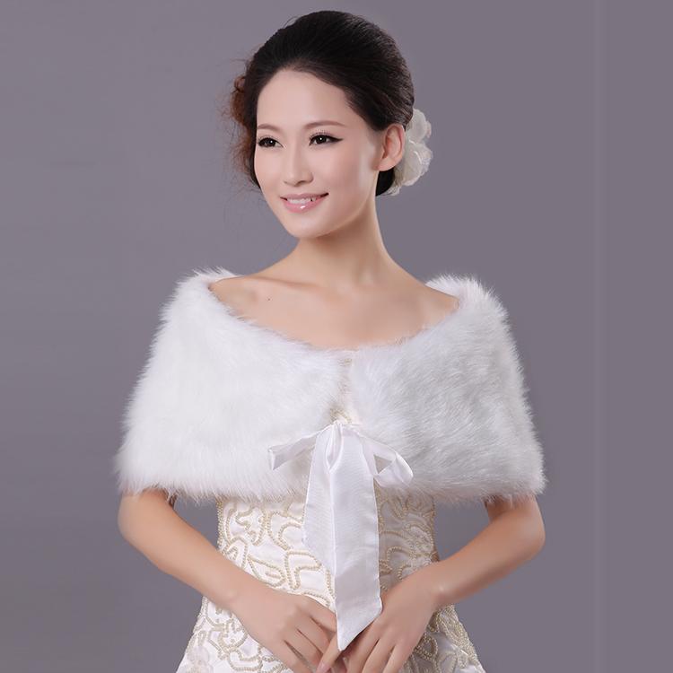 2014 bride cape formal wedding dress fur shawl autumn and for Winter shawls for wedding dresses