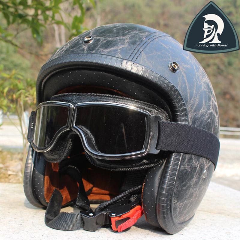 Adult Black PU Older Leather Retro Open Face Motorcycle Helmet With Harley Google High Quality Handmade Half Harley Helmet DOT<br><br>Aliexpress