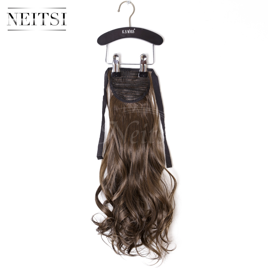 "Neitsi 1PC 22"" Synthetic Curly Hair Ponytails Hairpieces Wavy Clip In On Pony Tail Hair Extensions M2/30# Thick Soft Hair Weaves(China (Mainland))"
