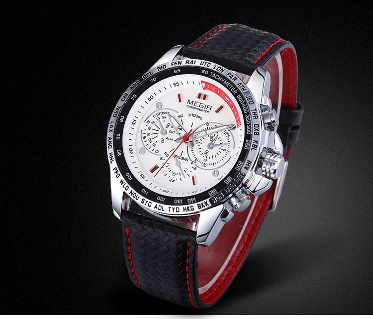 MEGIR Спортивные Кварцевые Мужские Часы Класса Люкс Кварцевые часы Часы Кожаный Ремешок Мужчины Наручные Часы Relogio мужской