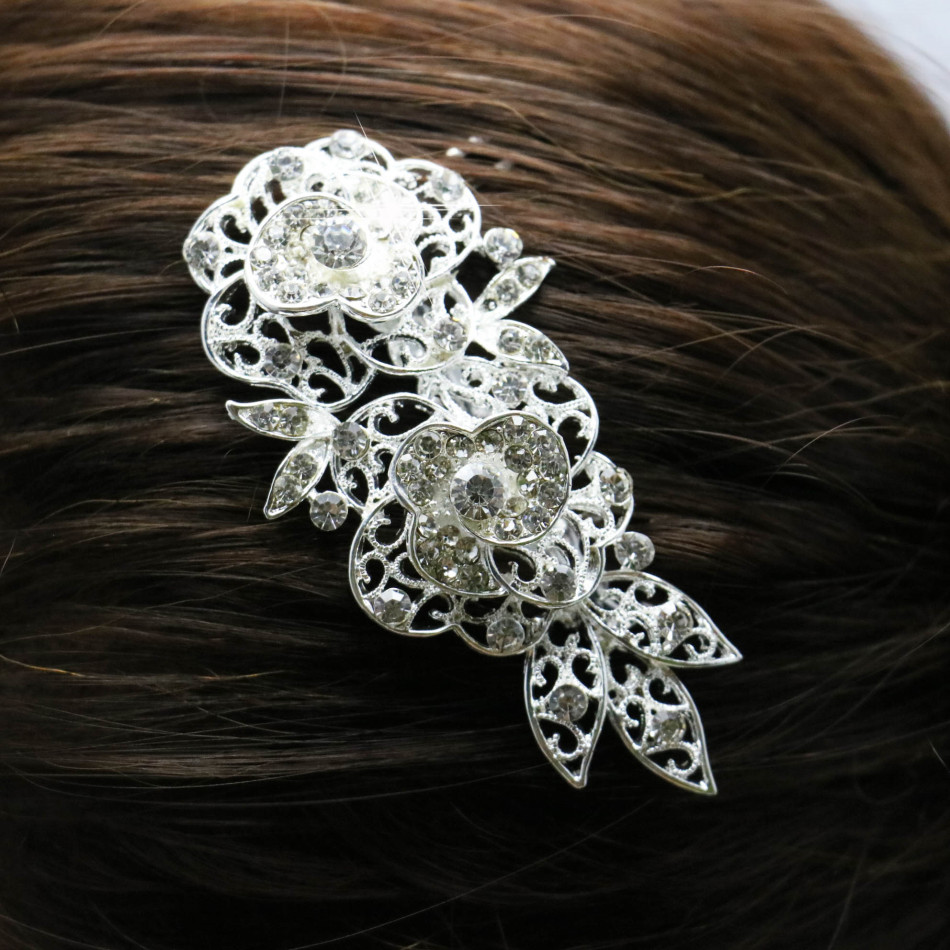 2015 New Wedding Bridal Crystal Hairpin Fashion Flower Hair Diamante Comb Hair Clip For Women Girl Jewelry Accessories Wholesale(China (Mainland))