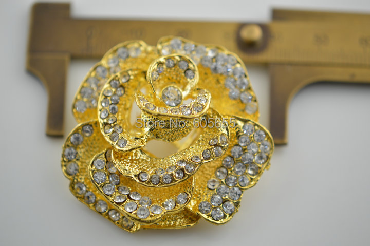 30mm Paved CZ Beads Gold plated Rose Flower shape 3 loops Jewelry Connectors Clasps