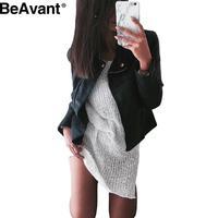 BeAvant Cool PU leather jacket coat Women classic black short basic jackets Autumn winter adjustable waist female jacket outwear