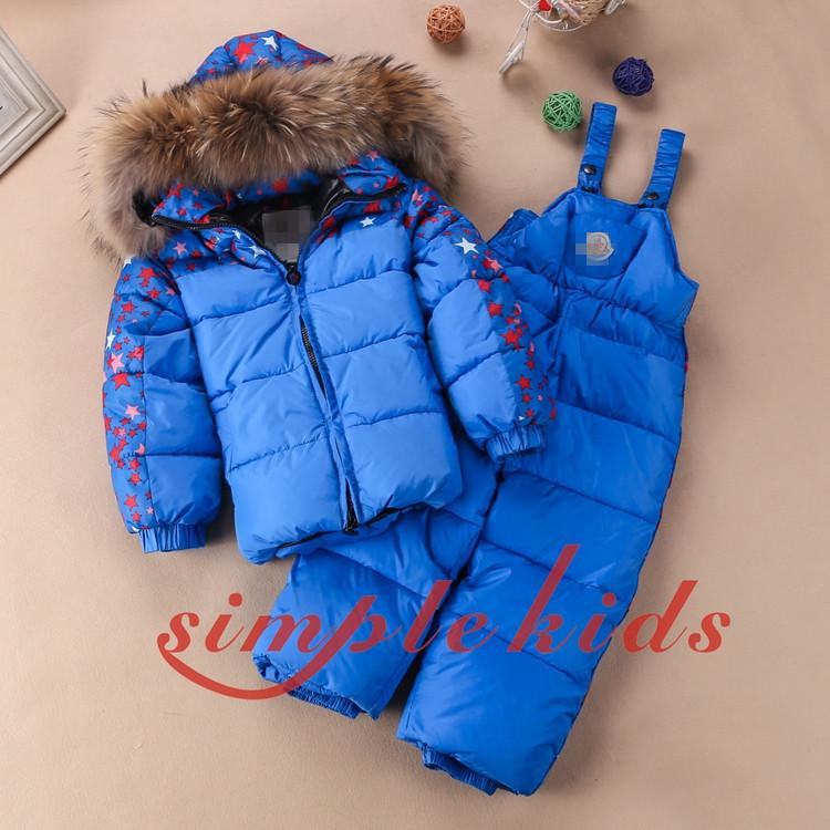 Childrens Sets Warm Down Jacket Suits raccoon fur collar Ski wear <br><br>Aliexpress