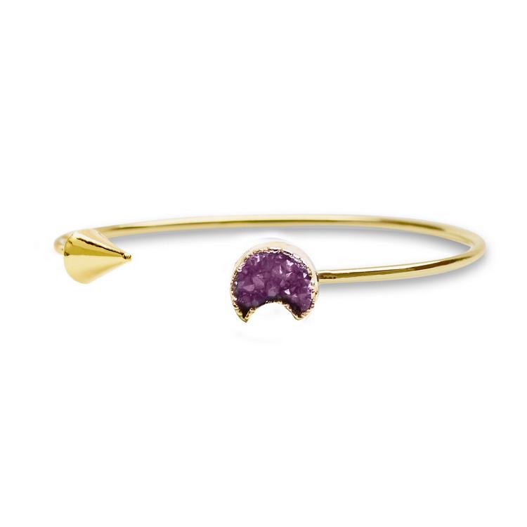 Gold Sliver Natural Stone Druzy Amethyst Cuff Bangles Women Moon Shape Rose Quartz Bangle Jewelry - Qilmily Store store