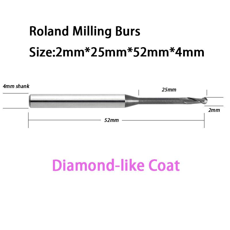 2.0mm Roland D50 51D Carbide Milling burs With DLC Diamond-like Coat 52mm Total Length<br><br>Aliexpress
