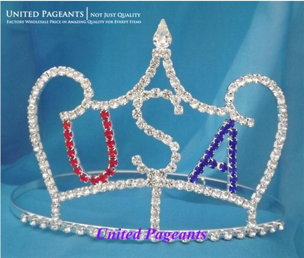 Wholesale Veterans Pageant Crowns Patriotic National Party Hair Wear Crown Tiara UC117(China (Mainland))