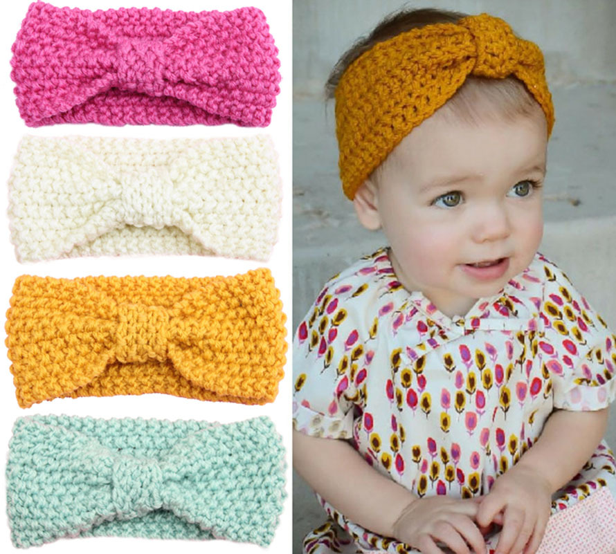 baby girl knit crochet turban headband warm headbands hair ...