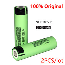 2PCS 100% New Original NCR18650B 3.7 v 3400 mah 18650 Lithium Rechargeable Battery For Panasonic batteries + Free shipping