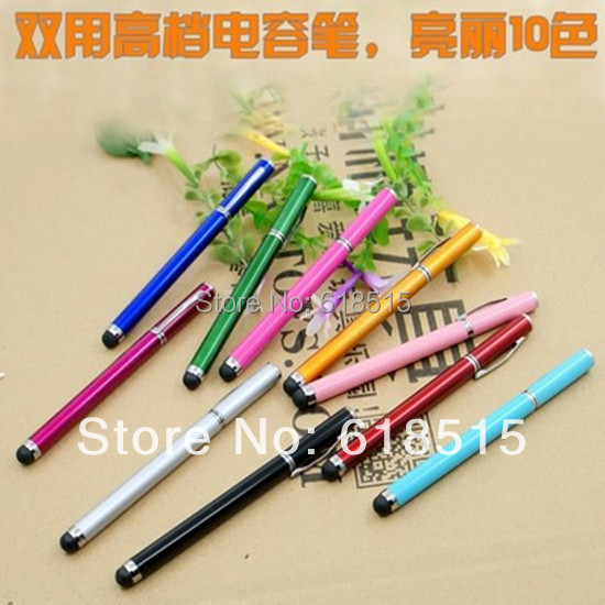 500pcs Free shipping 2 in 1 Stylus Pen Touch Screen touch Pen/ Capacitance pen for Apple IPhone 3G 3GS 4S 4G pad tablet pc(China (Mainland))