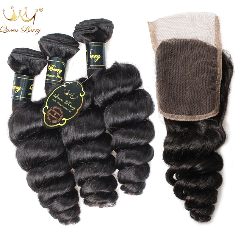 8A Indian Loose Wave 4 Bundles With Closure Natural Black Queen Berry Hair Products Unprocessed Indian Virgin Human Hair Bundles(China (Mainland))