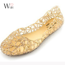 2016 PVC hollow out her summer sandals glitter flat stock the bird's nest hole wholesale(China (Mainland))