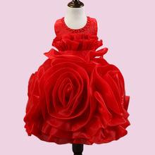 Girls Dress Children s Princess Dresses 3D Roses Three Quarter Wedding Kids Dress for Girl 2016