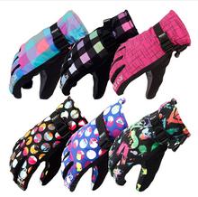 Горячая мода спорт на открытом воздухе дешевые женщины лыжные перчатки водонепроницаемый ветрозащитный дышащий теплая толстый зимний полуперчатки сноуборд перчатка