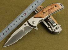 Browning 338 Folding Blade Knife Tactical Knife White Wood Handle Camping Knives Steel Blade 16cm Multifunctional Tools