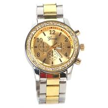 Women Men Chic Geneva Bling Crystal Stainless Steel Quartz WristWatches Gold  L05646