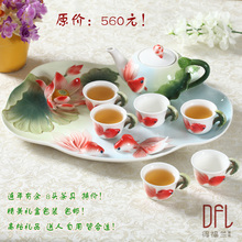 Enamel special ceramic kung fu tea set high-grade embossed teapot teacup tea tray a gift for wedding or birthday present