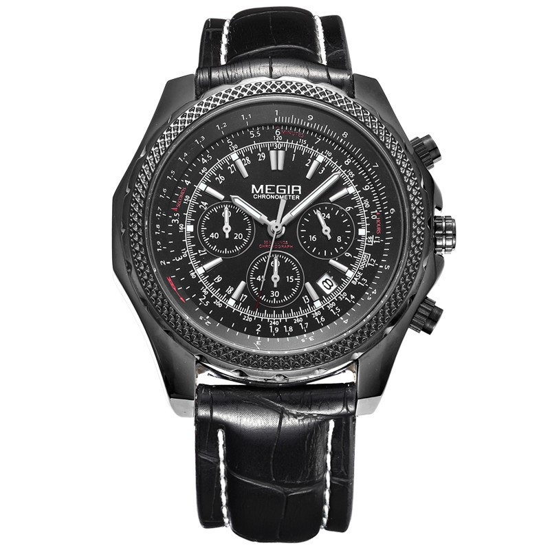 Relogio Masculino Top Brand Luxury MEGIR Military Watches Genuine Leather Men Sports Watch Chronograph 24 Hours Function Watches(China (Mainland))