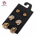 DANZE 3 Pairs lot Gothic Big alloy Stud Earrings Set Women Gold silver Color Ear Studs