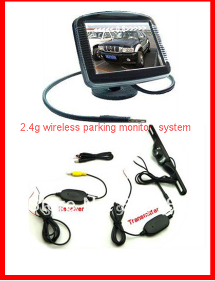 """cheapest Wireless Auto Parking Rearview Camera. Wireless RCA Video Transmitter Receiver Car Camera Connect 3.5"""" monitor(China (Mainland))"""