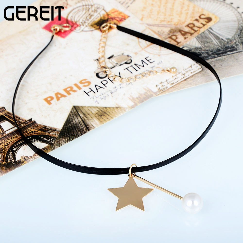 Simple Trendy Women Black Faux Leather Choker Necklace Goldcolor Star Bar  Simulated Pearl Pendant