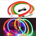 1 PS Solid LED High Quality USB Luminous Pet Dog Cat Collars Flash Waterproof Rechargable Safety