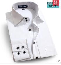 2015 quality long-sleeve plus size men shirt male business double collar casual dress shirt  autumn winter men camisa masculina(China (Mainland))