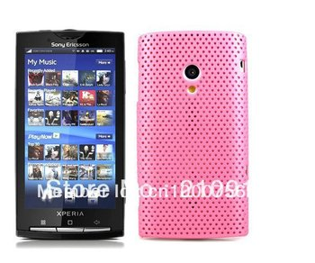 Wholesale 10Pcs/Lot  pink  Mesh Hard Case Cover for Sony Ericsson Xperia X10 Case,  free shipping