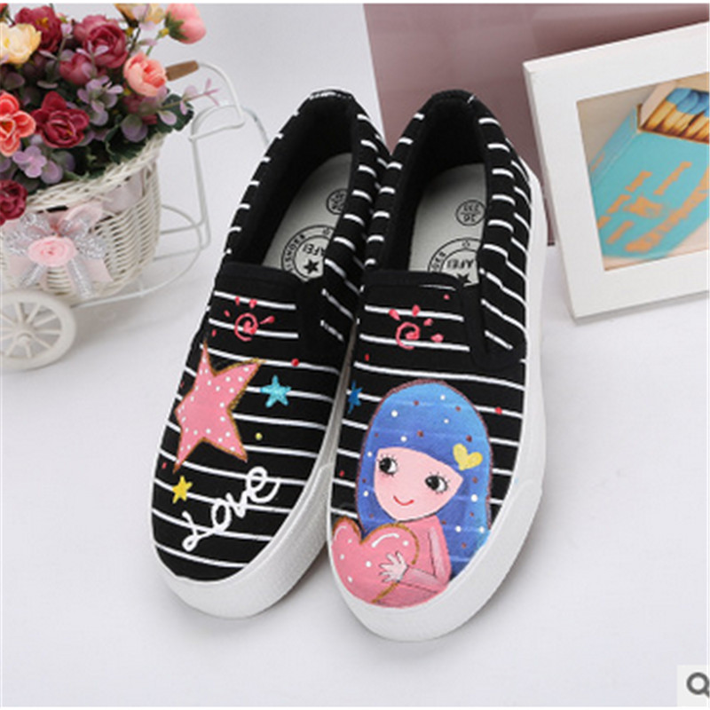 The spring of 2016 the new girl casual shoes slip-on hand-painted shoes low help canvas shoes lazy people(China (Mainland))