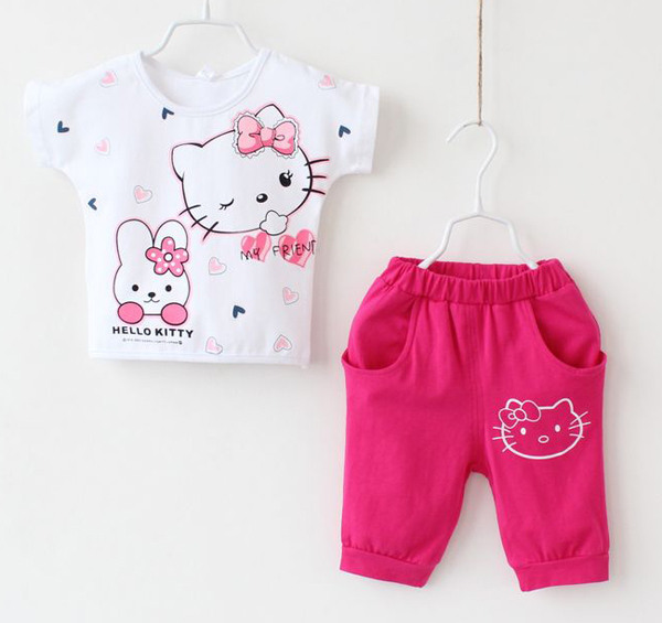 2014 new! Free shipping NWT 4 sets/lot girl summer printed hello kitty short sleeve suits, three colors for your choise!