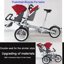 "3 Wheels 16"" Baby Stroller for Two Baby Seats Carrinho Aluminium Alloy Frame Bicycle High-Grade 3 in 1 Folding Bike for Twins(China (Mainland))"