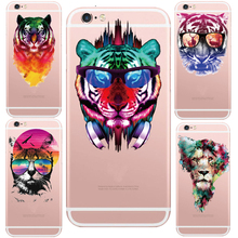 Cool Kenzoe Tiger Head Silicon Transparent Cell Phone Case For iphone 5 5s /6 6s Fundas Mobile Back Cover Case