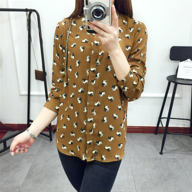 2016 New Arrivale Fashion Women Work Wear Brown Dog Print Blouses Vintage FemaleLong sleeve Stand Collar Shirts D511(China (Mainland))