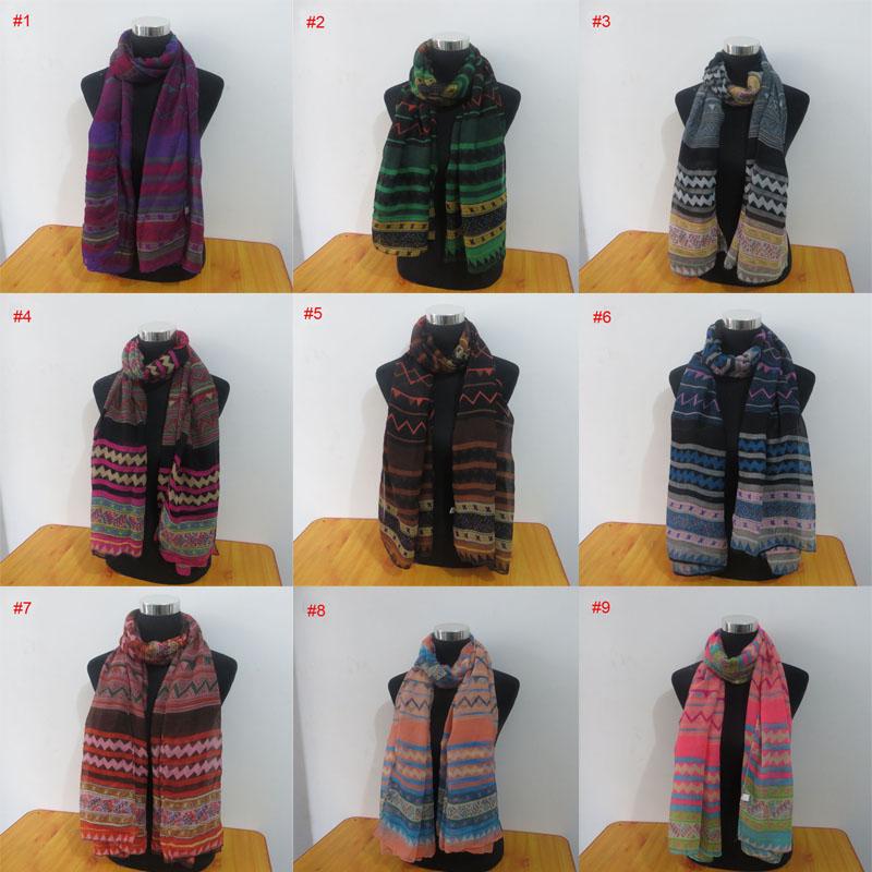 40 more colors Fashion women long voile geometry print shawls hijab muslim scarf tribal aztec shawl(China (Mainland))